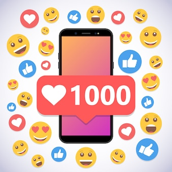Смартфон с уведомлением 1000 лайков и улыбкой для соцсетей