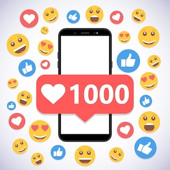 通知1000のスマートフォンが好きでソーシャルメディアに笑顔