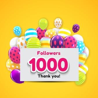 1000人のフォロワー、ソーシャルネットワークの友人の背景に感謝
