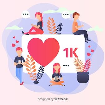 ソーシャルメディアの1000人のフォロワー