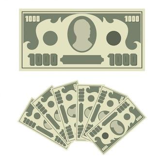 1000 долларов и денежный вентилятор. плоские простые символы банкноты изолированы на белом фоне.