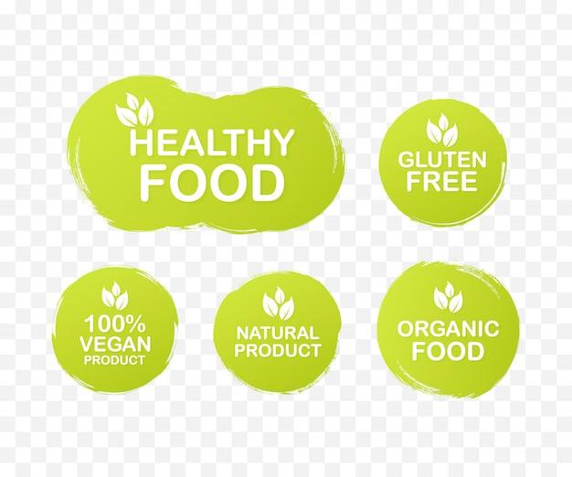 食品、栄養のカラフルなラベルを設定します。コレクションのアイコン。健康食品、グルテンフリー、100ビーガンフード、天然物、オーガニックフード。 。