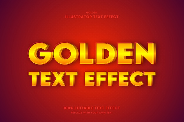 Золотой текстовый эффект 100% редактируемый текстовый эффект