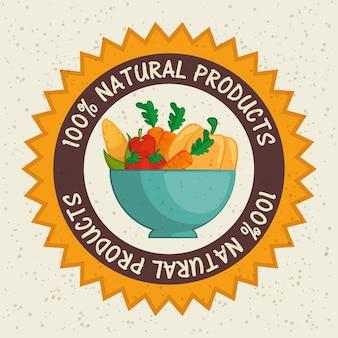 ベージュの背景の上にボウルの野菜と100%天然製品ラベル。ベクターイラストレーション