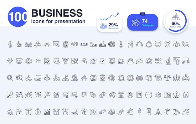 プレゼンテーションのための100のビジネスラインアイコン