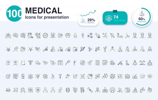 プレゼンテーション用の100の医療線アイコン