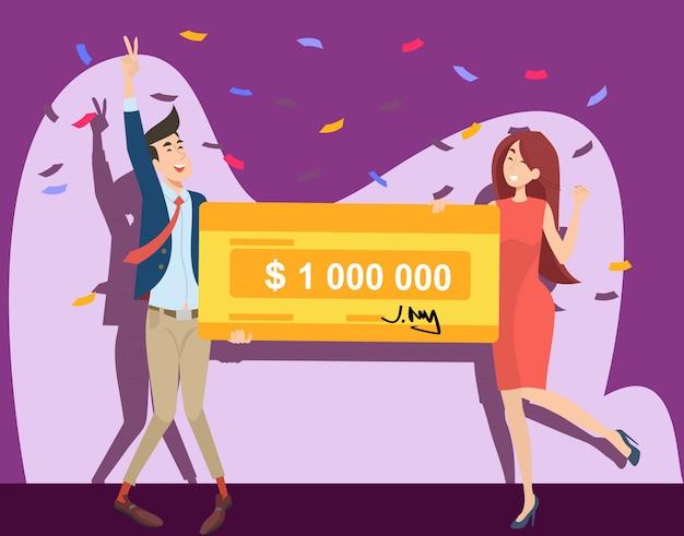 幸せな男と女が100万ドルを獲得