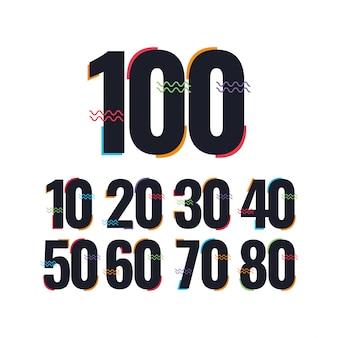 100年周年記念お祝いテンプレートデザインイラストロゴアイコン