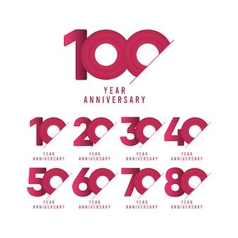 100年周年記念お祝いテンプレートイラスト