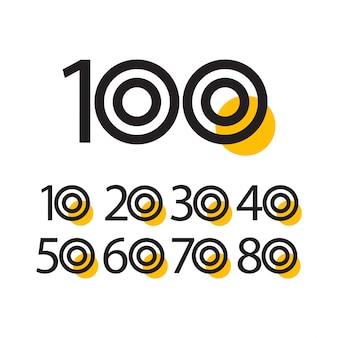 100年周年記念お祝いベクトルテンプレートイラスト