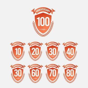 100年周年記念お祝いテンプレートデザインイラスト