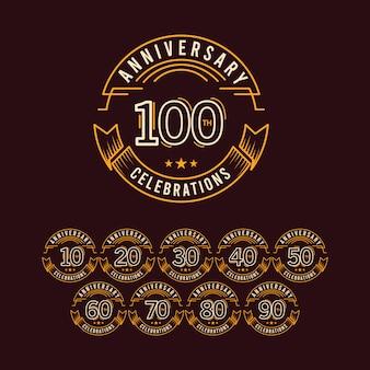 100周年記念セットテンプレートデザインイラスト