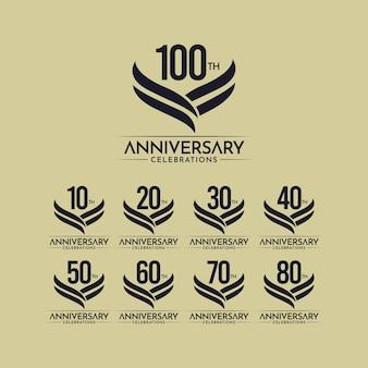 100年周年記念フルカラーベクトルテンプレートデザインイラスト