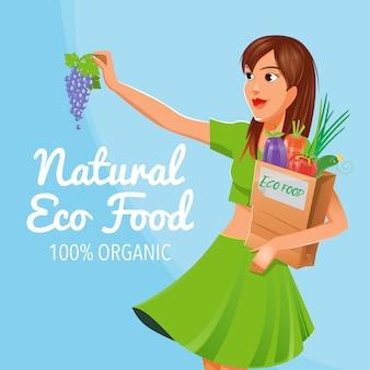 自然なエコ食品。 100%オーガニック食品。健康食品。エコ食品を持つ少女。