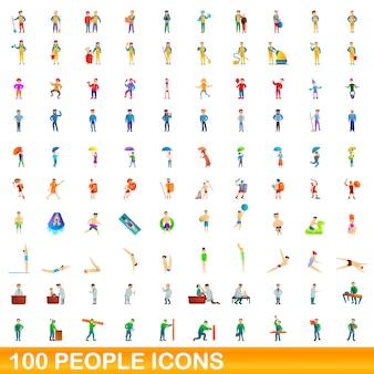 Набор 100 человек, мультяшный стиль