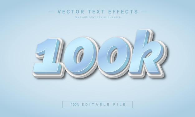 10万人のフォロワー3d編集可能なテキスト効果