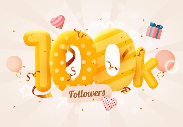 100 000 или 100 000 подписчиков спасибо розовое сердце, золотые конфетти и неоновые вывески. вектор