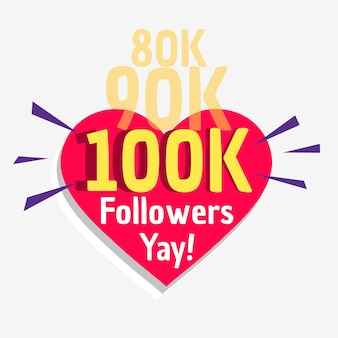 100k social followers success message poster template