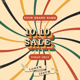 1010 shopping day font expression vintage retro and grunge texture vector illustration