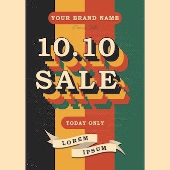 1010 shopping day font vintage retro and grunge texture vector illustration