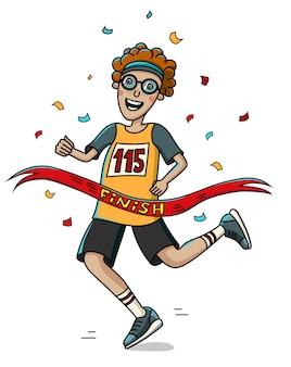 10代のマラソンランナーがフィニッシュラインを横切る。