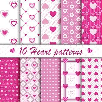 10ピンクのハート形のシームレスパターンコレクション
