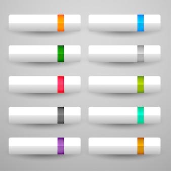 10個の光沢のある色で設定された白いボタン