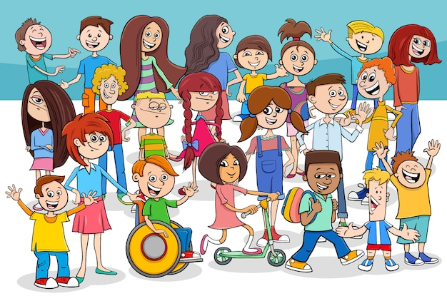 子供と10代の漫画のキャラクターグループ