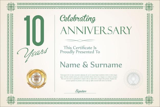 レトロなビンテージ周年記念10年