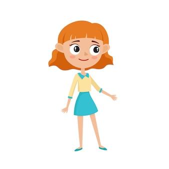 スタイリッシュな服、白い背景で隔離の漫画イラストで美しい流行に敏感な女性。幸せな巻き毛の赤い髪の10代の女の子のドレス