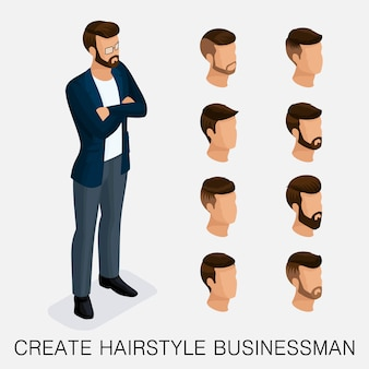 トレンディな等尺性セット10、質的研究、男性のヘアスタイル、ヒップスタースタイルのセット。今日の青年実業家の