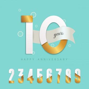 10年周年記念エンブレム。数字のセット。