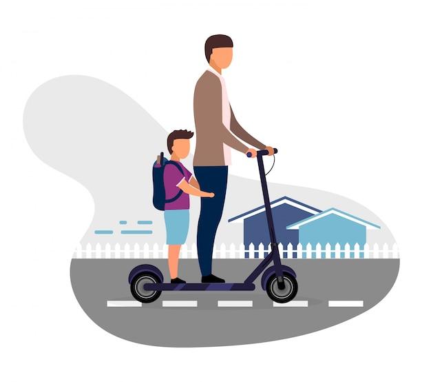 スクーターに乗って小学生一緒にイラスト。白い背景の上の弟の漫画のキャラクターの少年。 10代とプレティーンの子供たちが学校に行きます。子供たちは楽しい