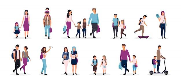 学校に戻るイラストセット。プレティーンと10代の学童、小学生。子供、クラスメート、友人を持つ親は、白い背景の上のキャラクターを漫画します。男子生徒と女子生徒