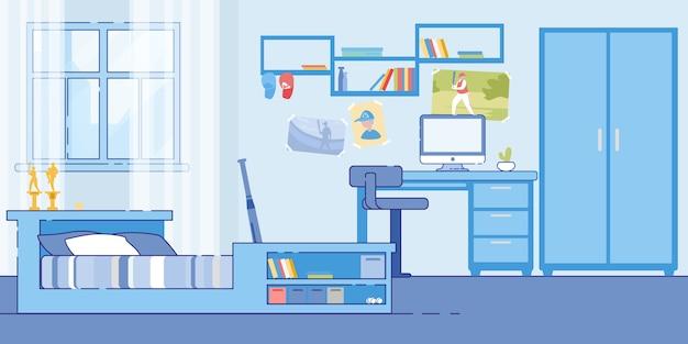 10代の少年の寝室の居心地の良いインテリア