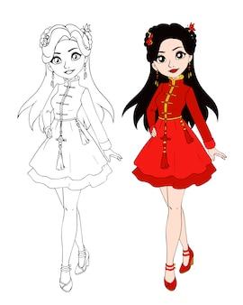 中国の伝統的な衣装を着ている10代の少女。