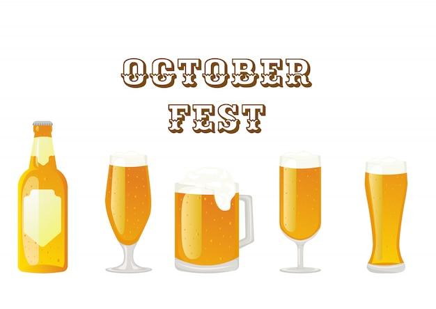 10月の祭り。白い背景の上の大きなセットビールグラス。