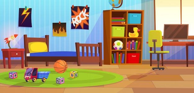 部屋の男の子。子供のインテリア寝室子供子供男の子10代の若者のアパートのベッドのおもちゃプレイルームの家の家具の背景