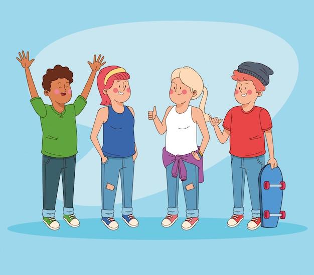楽しい漫画を持っている10代の若者の友達