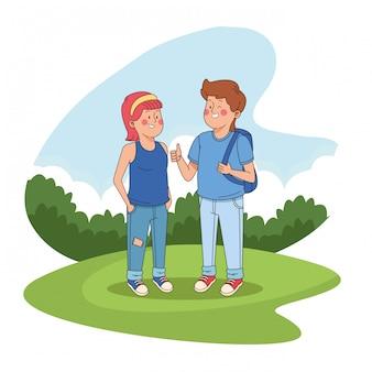 公園の漫画で10代の若者の友達
