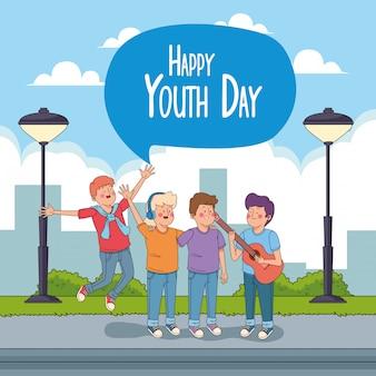 10代の若者の漫画と幸せな青春日カード