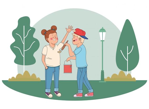 10代の若者の友人笑顔と楽しい漫画