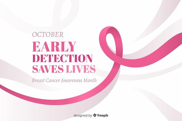 10月の早期発見により、乳がんの意識を高めるためのテキストが保存されます