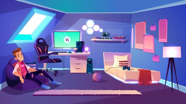 家の屋根裏部屋の漫画のベクトルの彼の居心地の良い部屋で快適なバッグのアームチェアに座っている10代の少年