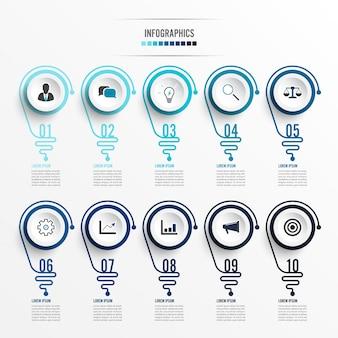 電球と抽象的なインフォグラフィック。ビジネスプレゼンテーションまたは情報バナー10オプションのインフォグラフィック。