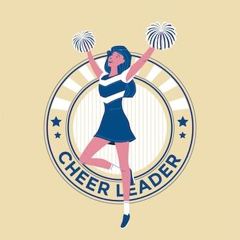 ポンポンイラストとダンスを実行する若い女の子10代のチアリーダーチーム
