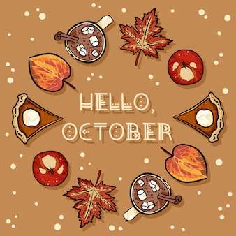 こんにちは、10月のデコレーションリースかわいい居心地の良いカード。