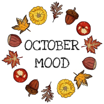 10月の気分装飾花輪かわいい居心地の良いカード