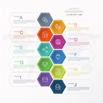 10プロセスインフォグラフィックとビジネスアイコン。