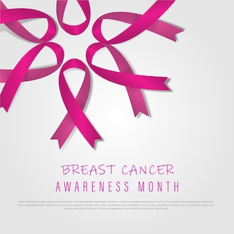 乳がん10月認識月間。世界がんの日明るいピンク認識リボン。